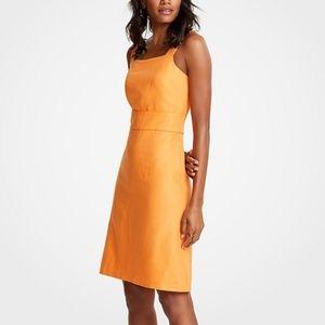 Ann Taylor | Midi Square Neck Sheath Dress Linen